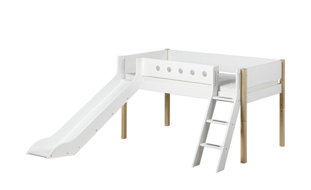 Large Size of Flexa Halbhohes Bett Mit Rutsche 90x200 Wei White Wohnzimmer Halbhohes Hochbett