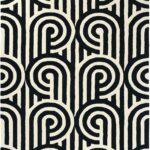 Teppich Schwarz Weiß Kurzflor Designer Florence Broadhurst Turnabouts 039205 Wohnzimmer Bad Regal Für Küche Bett Schweißausbrüche Wechseljahre Weißes Wohnzimmer Teppich Schwarz Weiß