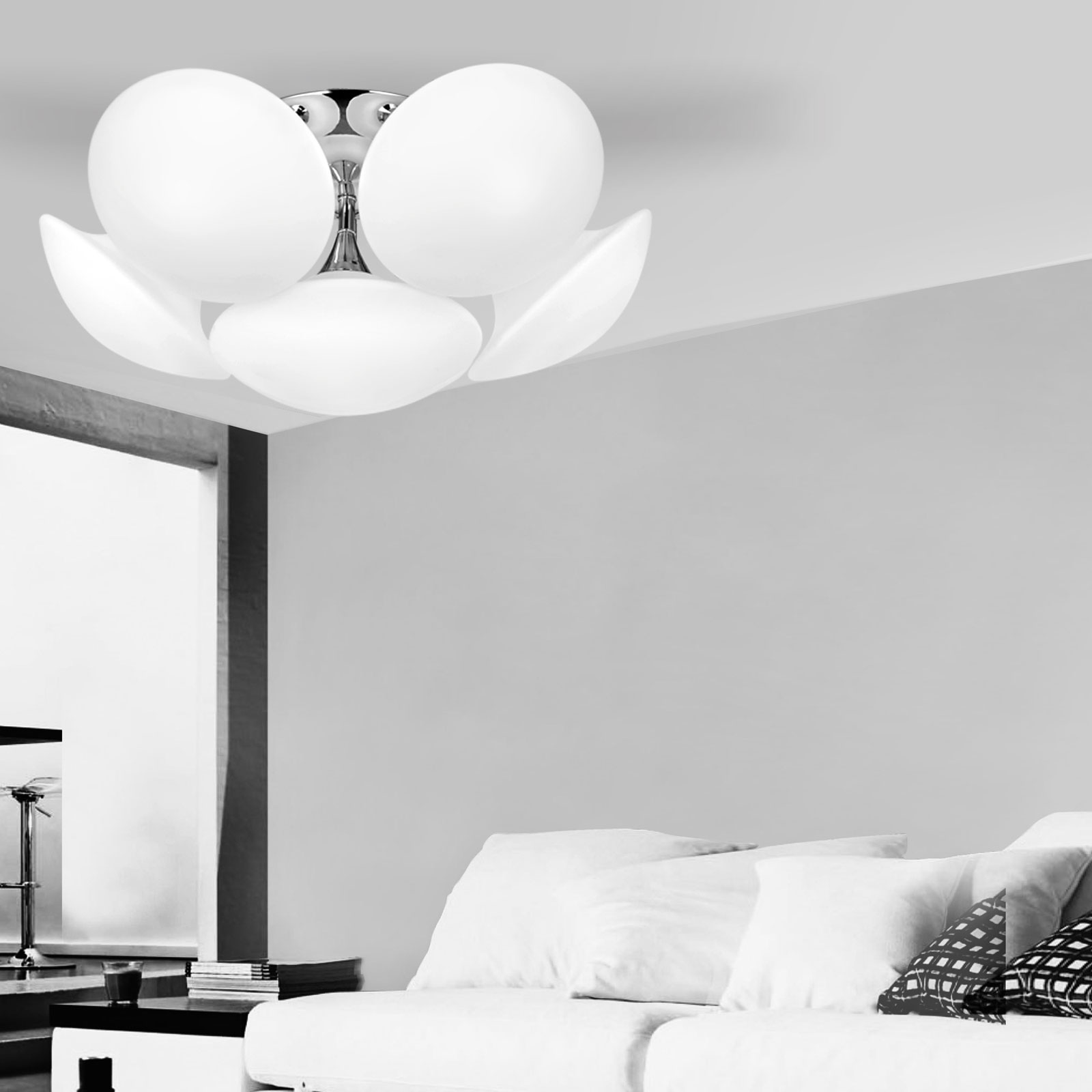 Full Size of Design Led Deckenlampe 6 Falmmig Deckenleuchte Wohnzimmer Glas Panel Küche Büffelleder Sofa Einbauleuchten Bad Spiegelschrank Lampen Spot Garten Leder Braun Wohnzimmer Led Wohnzimmerlampe