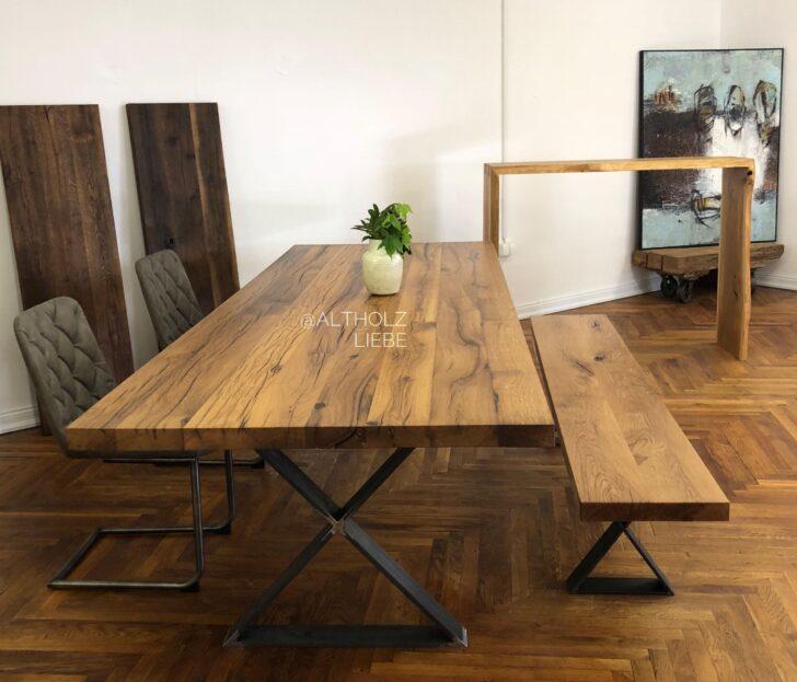 Medium Size of Altholztisch Mit Bank Aus Recycelten Eichenbalken Vollholzküche Holzküche Massivholzküche Wohnzimmer Holzküche Auffrischen