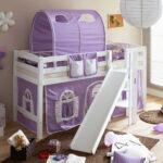 Mädchenbetten Wohnzimmer Halbhohes Mdchenbett Aranon Mit Rutsche Und Vorhang In Lila