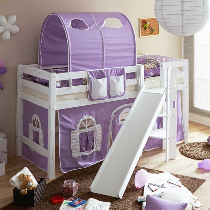 Medium Size of Halbhohes Mdchenbett Aranon Mit Rutsche Und Vorhang In Lila Wohnzimmer Mädchenbetten