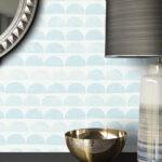 Küche Blau Grau Wohnzimmer Vliestapete Blau Grafik Halbkreise Linien Diele Flur Einbauküche Ohne Kühlschrank Handtuchhalter Küche Hochglanz Grau Deckenleuchte Eckschrank Küchen Regal