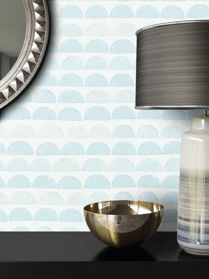 Medium Size of Vliestapete Blau Grafik Halbkreise Linien Diele Flur Einbauküche Ohne Kühlschrank Handtuchhalter Küche Hochglanz Grau Deckenleuchte Eckschrank Küchen Regal Wohnzimmer Küche Blau Grau