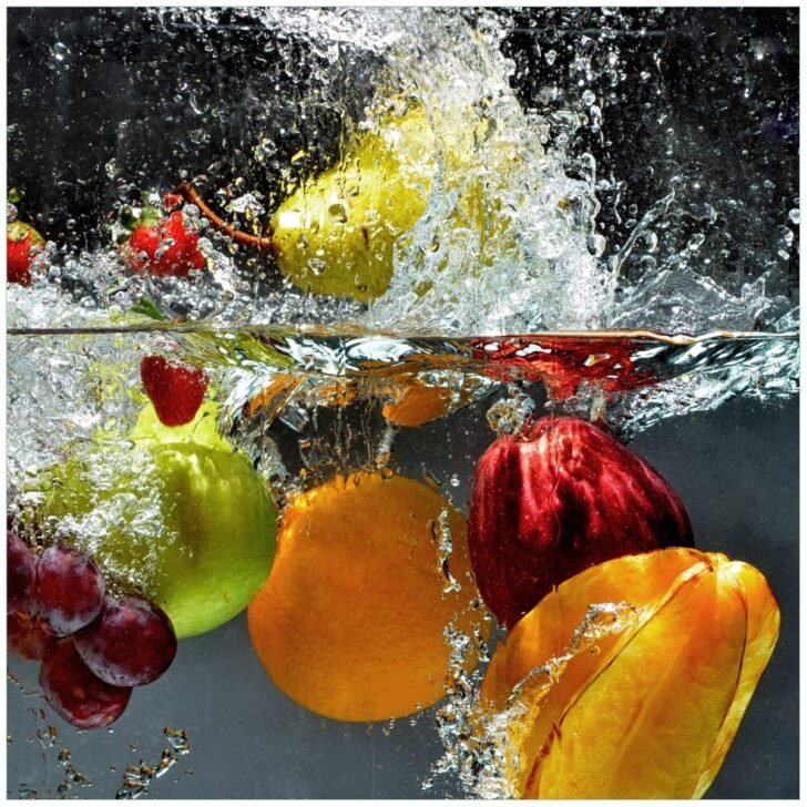 Medium Size of Glasbild Frchte Im Und Unter Wasser Splashing Fruits 50 Cm Glasbilder Küche Bad Küchen Regal Wohnzimmer Küchen Glasbilder
