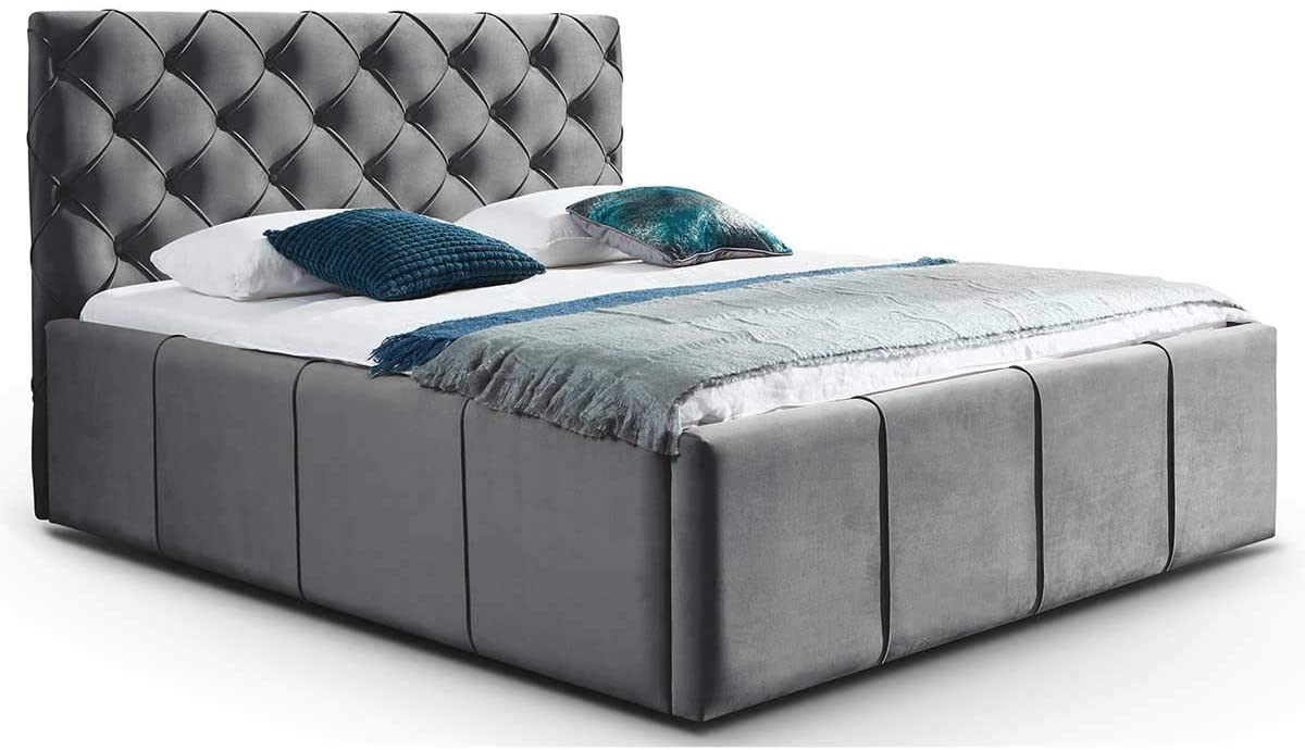 Full Size of Chesterfield Bett Samt Grau Mit Bettkasten Nelly Xxl Stauraum Stil Vintage Team 7 Betten Wickelbrett Für Küche Hochglanz 120x200 Matratze Und Lattenrost Wohnzimmer Chesterfield Bett Samt Grau