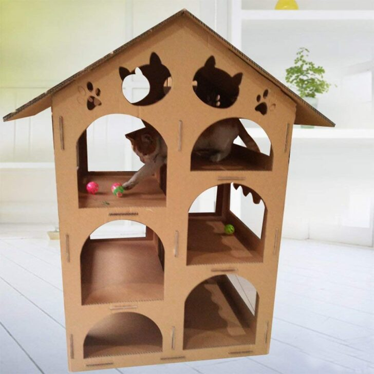 Medium Size of Klettergerüst Indoor Diy Xmkatze Haus Recyclebar Karton Montiert Multi Layer Large Garten Wohnzimmer Klettergerüst Indoor Diy