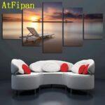 Atfipan Bestbewertet Leinwand Malerei 5 Panel Sonnenuntergang Fototapeten Wohnzimmer Hängeleuchte Teppiche Relaxliege Teppich Stehleuchte Wohnwand Tapete Wohnzimmer Wohnzimmer Liegestuhl