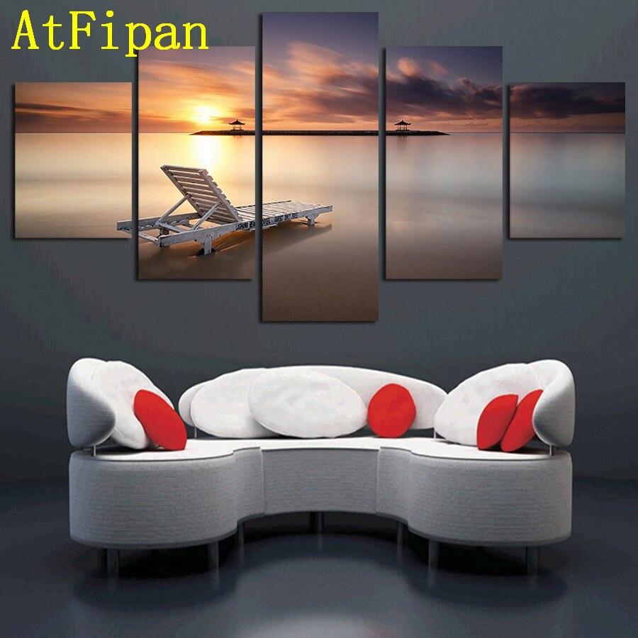 Full Size of Atfipan Bestbewertet Leinwand Malerei 5 Panel Sonnenuntergang Fototapeten Wohnzimmer Hängeleuchte Teppiche Relaxliege Teppich Stehleuchte Wohnwand Tapete Wohnzimmer Wohnzimmer Liegestuhl