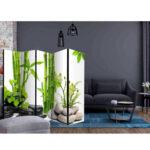 Paravent Bambus Wohnzimmer Paravent Bambus Trennwand Tidy Mit Grnem Und Steinen 225 Cm Breit Garten Bett
