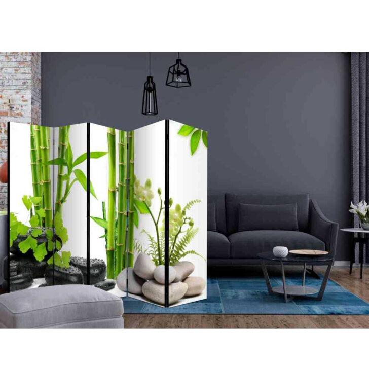 Paravent Bambus Trennwand Tidy Mit Grnem Und Steinen 225 Cm Breit Garten Bett Wohnzimmer Paravent Bambus