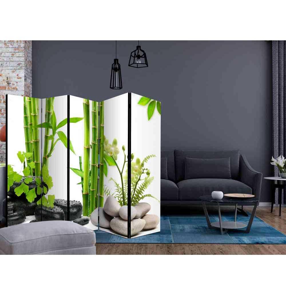 Full Size of Paravent Bambus Trennwand Tidy Mit Grnem Und Steinen 225 Cm Breit Garten Bett Wohnzimmer Paravent Bambus
