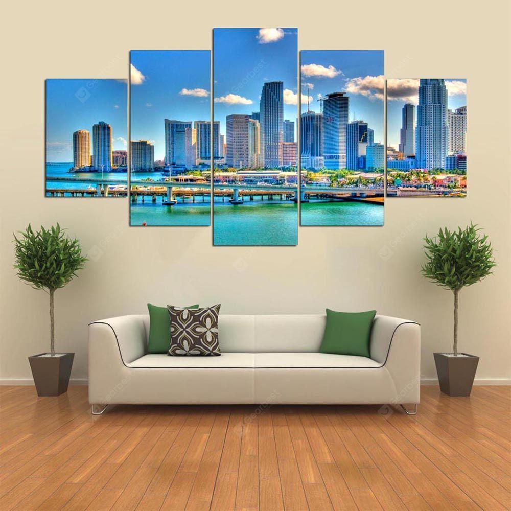 Full Size of Wohnzimmer Wandbild Ysdafen 5 Panel Hd Schne Miami Florida Leinwand Kunst Fr Gardine Teppich Indirekte Beleuchtung Vorhang Lampe Vorhänge Hängelampe Wohnzimmer Wohnzimmer Wandbild