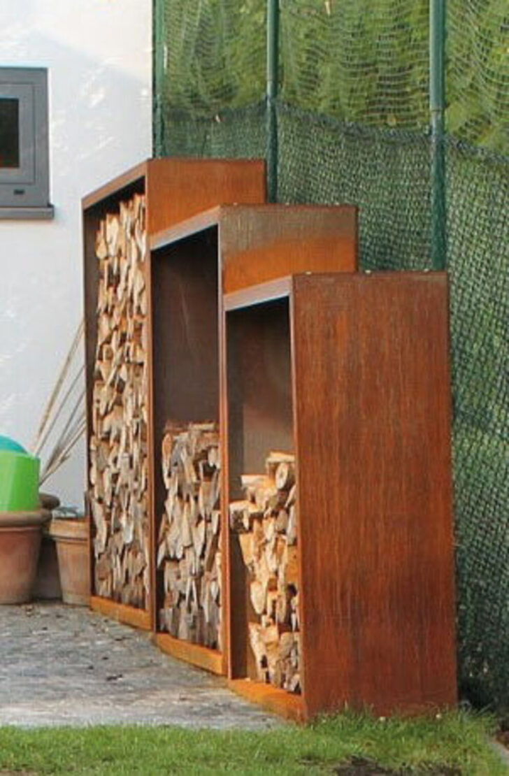 Medium Size of Holzlege Cortenstahl Kaminholzregale Aus Metall Wohnzimmer Holzlege Cortenstahl