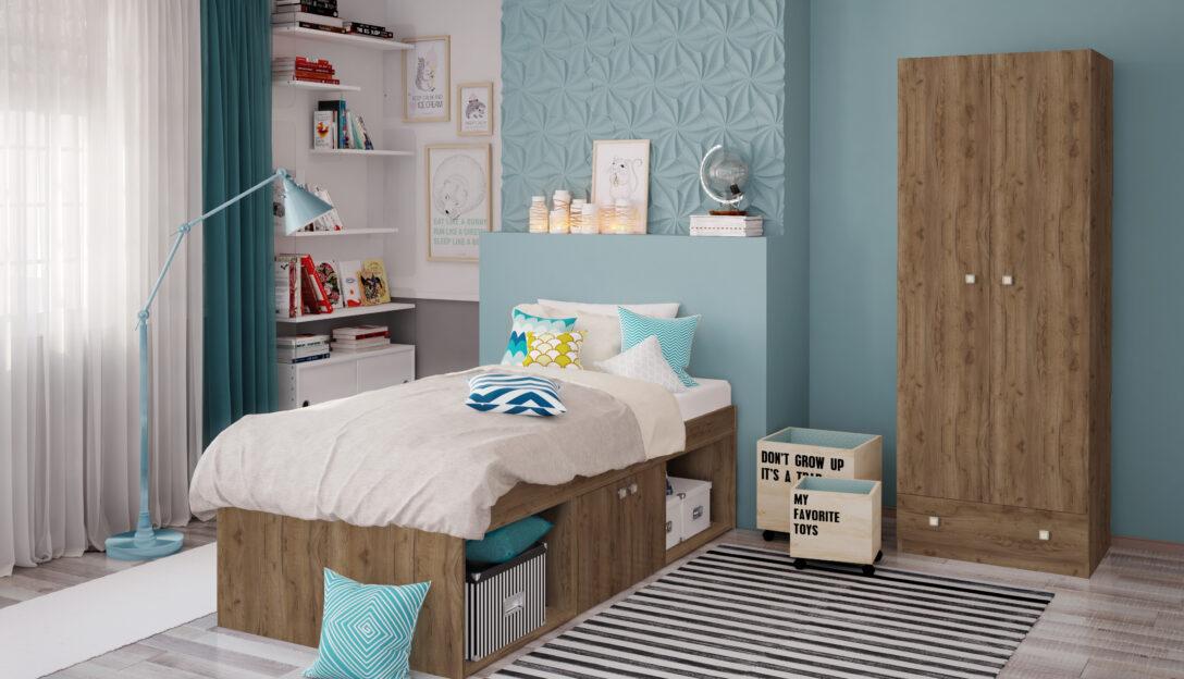 Large Size of Kinderbett Stauraum Parisot Bett Space Jugendbett 207x166 Eiche Nb 160x200 140x200 Mit Betten 200x200 Wohnzimmer Kinderbett Stauraum