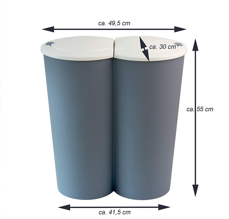 Full Size of Doppel Mülleimer Bigdean Mlleimer 50l Pastellblau Wei 2x25l Duo Abfalleimer Einbau Küche Doppelblock Wohnzimmer Doppel Mülleimer