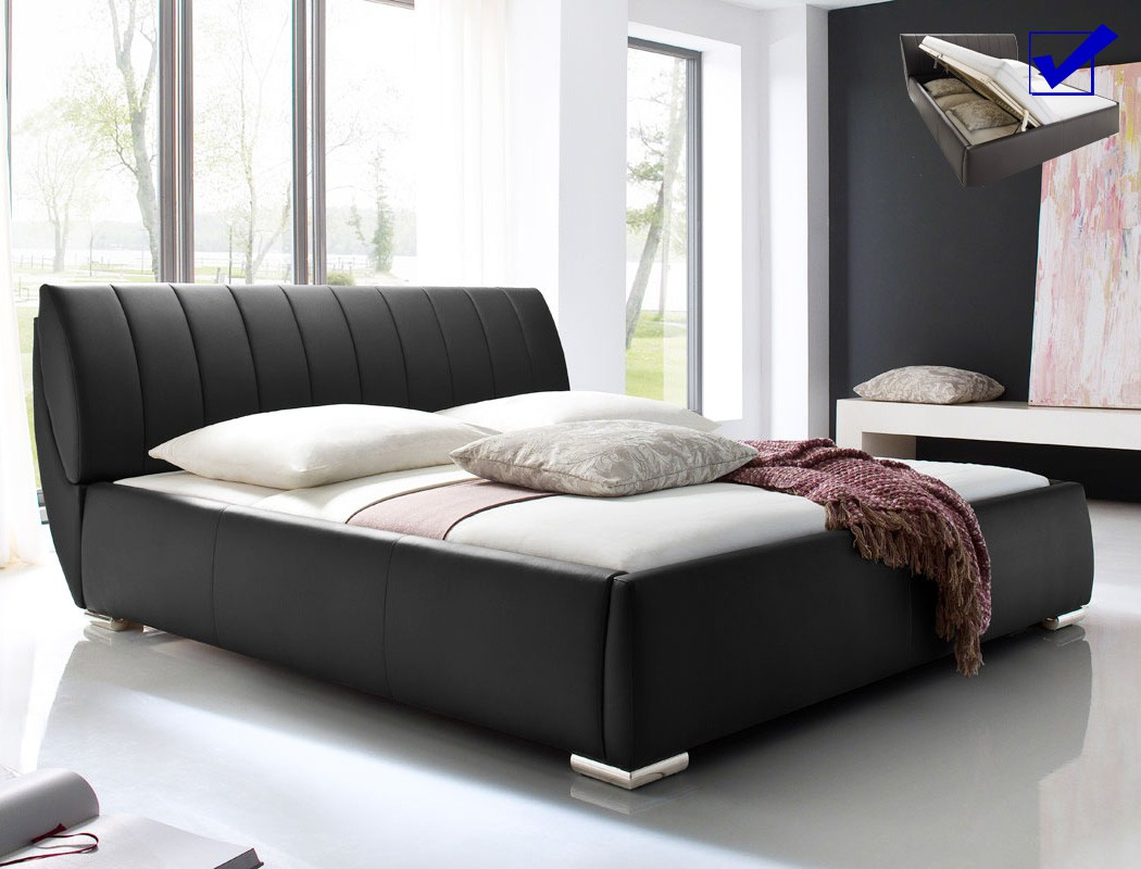 Full Size of Klappbares Doppelbett Bett Bauen Polsterbett Luanos 180x200cm Schwarz Lattenrost Klappbar Ausklappbares Wohnzimmer Klappbares Doppelbett