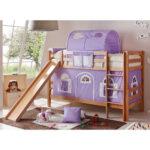 Mädchenbetten Mdchenbett Tiahu Fr Zwei Mit Rutsche Und Vorhang In Lila Wohnzimmer Mädchenbetten