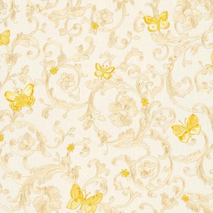 Medium Size of Butterfly Barocco Versace Home Floral Tapete Creme Gelb Glitzer Dha Küche Günstig Mit Elektrogeräten Kaufen Tapeten Schlafzimmer Hochglanz Weiss Hängeregal Wohnzimmer Tapete Küche Kaffee