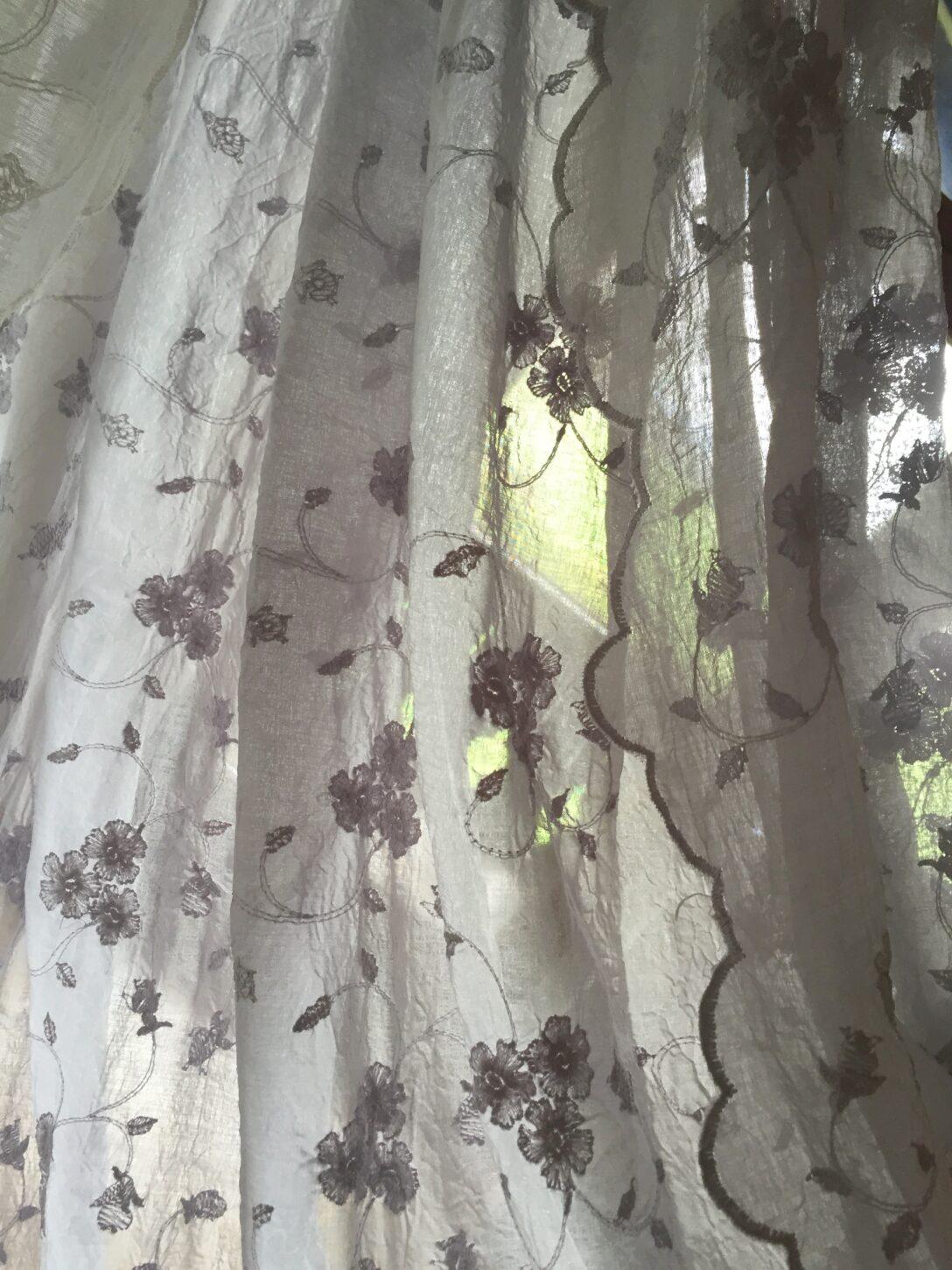 Large Size of Küchengardinen Landhaus Gardinen Schal Lisamarie Bestickt Grau 200x250 Shabby Vintage Landhausstil Küche Landhausküche Weiß Bett Bad Moderne Esstisch Sofa Wohnzimmer Küchengardinen Landhaus