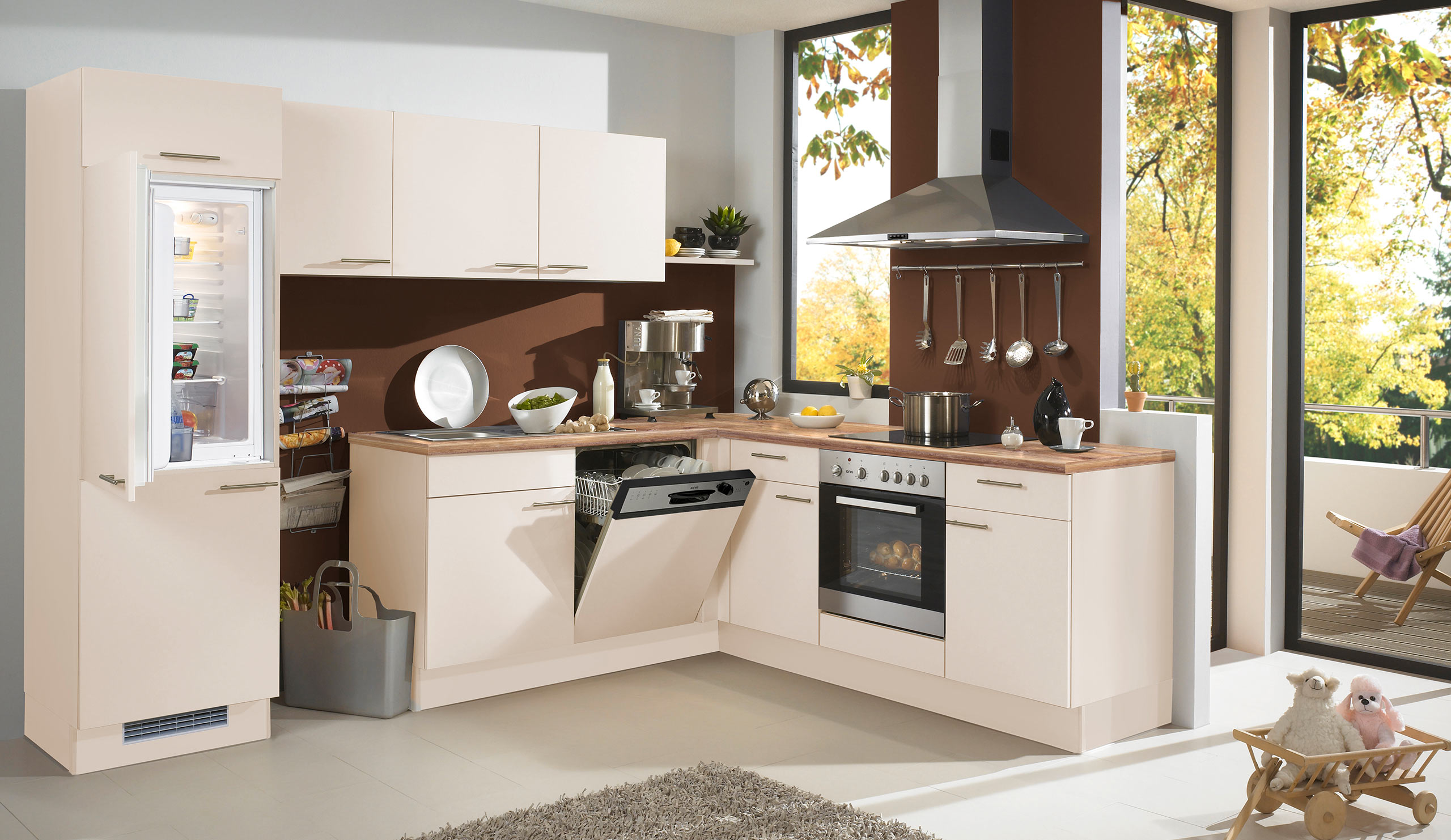 Full Size of Basic Einbaukche Pura 0080 Magnolienweiss Kchenquelle Küchen Regal Wohnzimmer Küchen Quelle
