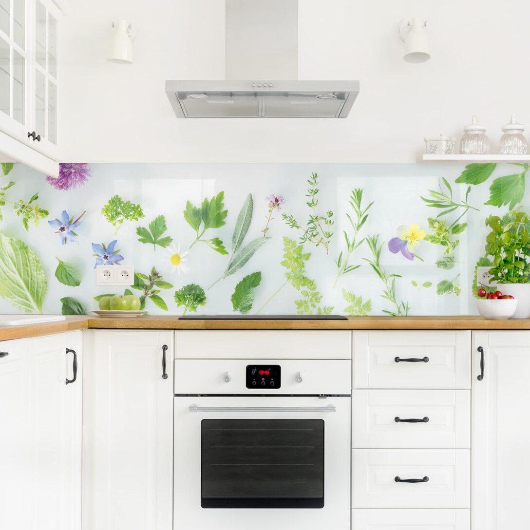 Large Size of Küchen Glasbilder Kchenrckwand Kruter Und Blten Ii Kchenwand Bad Küche Regal Wohnzimmer Küchen Glasbilder
