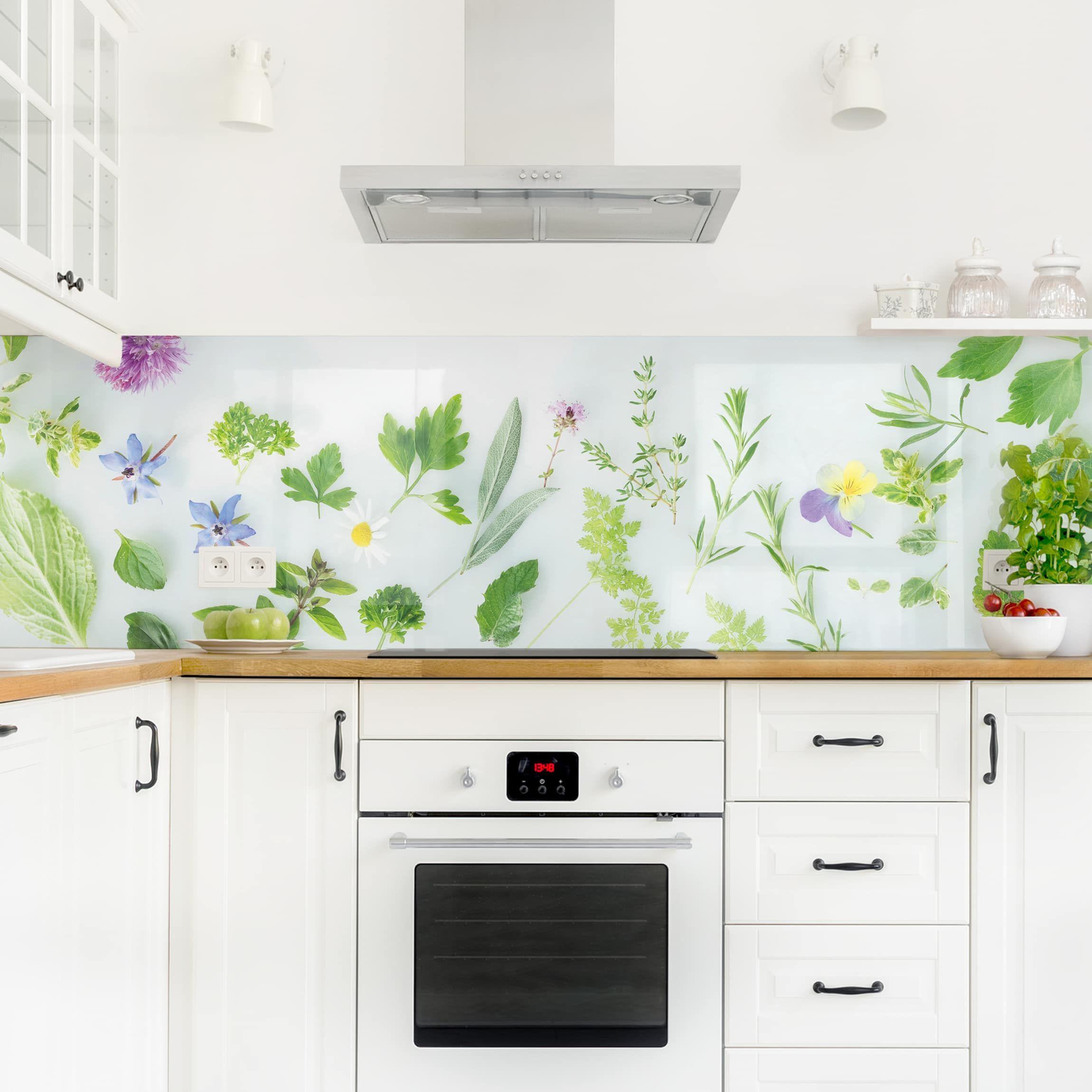 Full Size of Küchen Glasbilder Kchenrckwand Kruter Und Blten Ii Kchenwand Bad Küche Regal Wohnzimmer Küchen Glasbilder