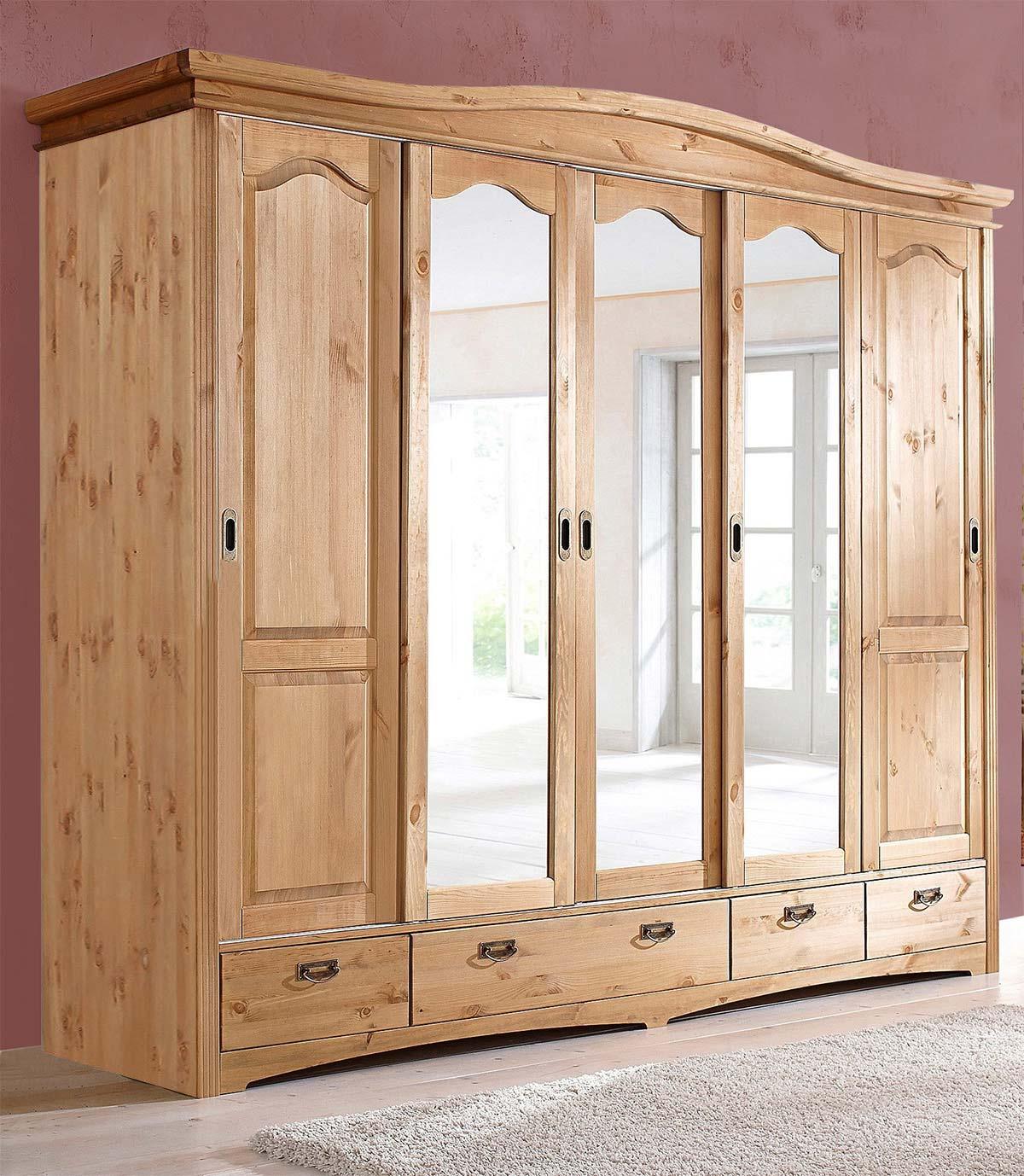 Full Size of Kleiderschrank Schlafzimmerschrank Kiefer Massiv Natur 249cm 5 Wohnzimmer Schlafzimmerschränke