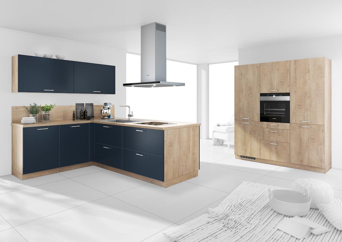 Full Size of Bauformat L Kche Blau Holz Arbeitsplatte Und Wandschrank Aus Echtholz Einbauküche Form Led Deckenleuchte Küche Wandregal Einlegeböden Salamander Wohnzimmer Küche Blau