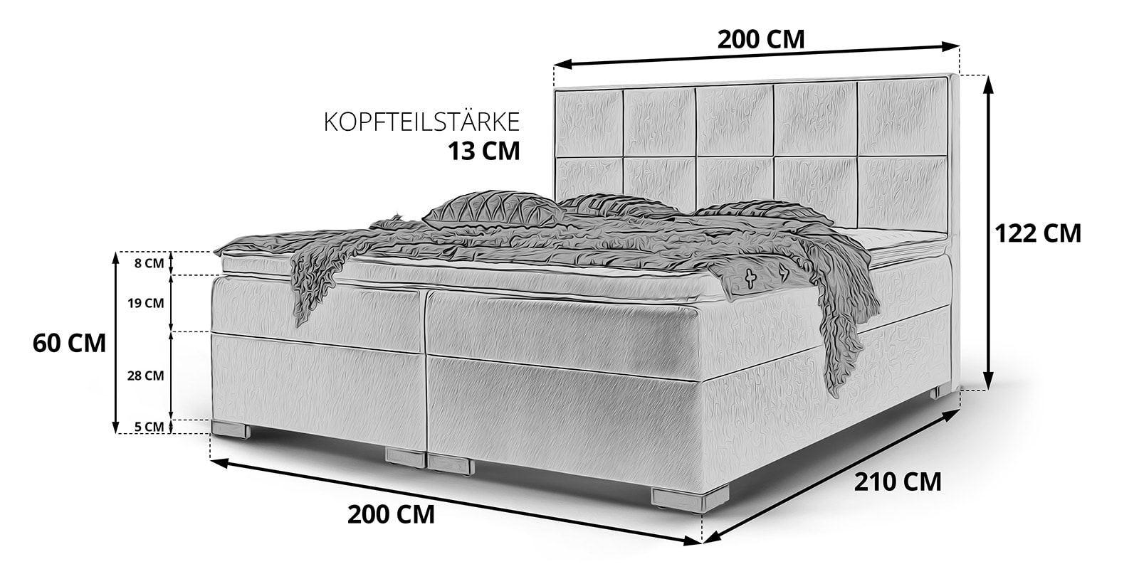 Full Size of Boxspringbett Mit Bettkasten Stauraum Bett Arizona Skizze 200x200 Weiß Betten Komforthöhe Wohnzimmer Stauraumbett 200x200