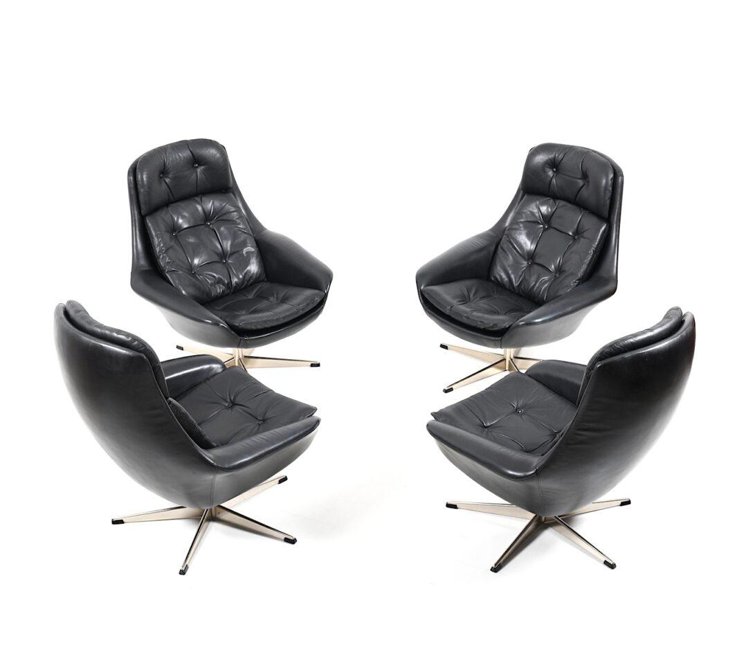 Large Size of Set Of Four Danish Black Leather Swivel Lounge Chair By H W Kleine Bäder Mit Dusche Kleines Bad Planen Regal Weiß Garten Loungemöbel Holz Einbauküche Wohnzimmer Lounge Set Klein