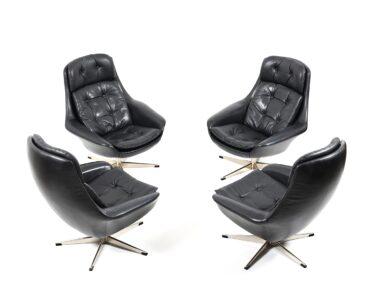 Lounge Set Klein Wohnzimmer Set Of Four Danish Black Leather Swivel Lounge Chair By H W Kleine Bäder Mit Dusche Kleines Bad Planen Regal Weiß Garten Loungemöbel Holz Einbauküche