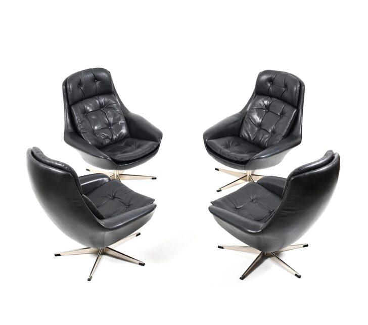 Medium Size of Set Of Four Danish Black Leather Swivel Lounge Chair By H W Kleine Bäder Mit Dusche Kleines Bad Planen Regal Weiß Garten Loungemöbel Holz Einbauküche Wohnzimmer Lounge Set Klein