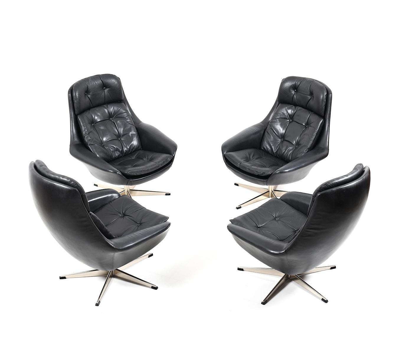 Full Size of Set Of Four Danish Black Leather Swivel Lounge Chair By H W Kleine Bäder Mit Dusche Kleines Bad Planen Regal Weiß Garten Loungemöbel Holz Einbauküche Wohnzimmer Lounge Set Klein