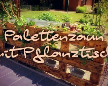 Paletten Zaun Wohnzimmer Palettenzaun Mit Pflanztisch Bauen Youtube Regale Aus Europaletten Paletten Bett 140x200 Regal Kaufen Garten Zaun