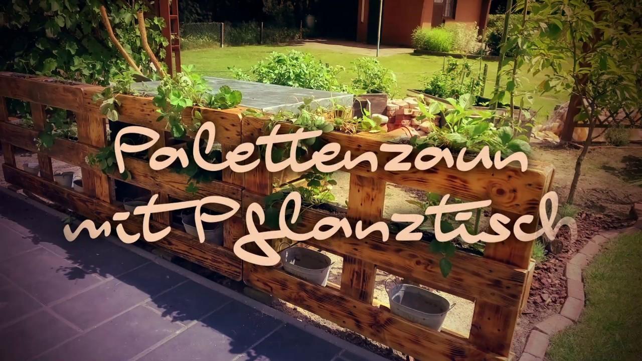 Full Size of Palettenzaun Mit Pflanztisch Bauen Youtube Regale Aus Europaletten Paletten Bett 140x200 Regal Kaufen Garten Zaun Wohnzimmer Paletten Zaun