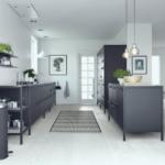 Ideen Fr Eine Schwarze Kche Planungswelten Vollholzküche Bodenbeläge Küche Led Beleuchtung Mülltonne Weiße Bodengleiche Dusche L Form Landhausstil Wohnzimmer Küche Boden