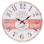 Uhr Wanduhr Kchenuhr Coffee Kaffee Tasse 34cm Shabby Vintage Kräutertopf Küche Lüftungsgitter Schlafzimmer Landhausstil Weiß Sockelblende Mit Wohnzimmer Wanduhr Küche Landhaus