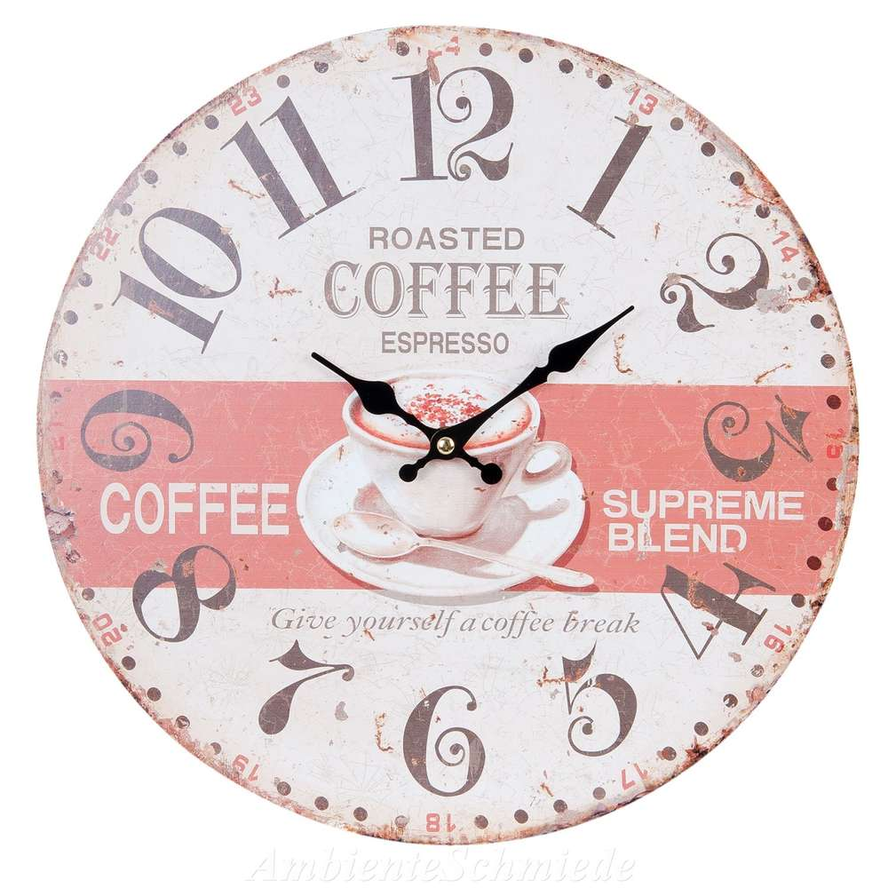 Full Size of Uhr Wanduhr Kchenuhr Coffee Kaffee Tasse 34cm Shabby Vintage Kräutertopf Küche Lüftungsgitter Schlafzimmer Landhausstil Weiß Sockelblende Mit Wohnzimmer Wanduhr Küche Landhaus