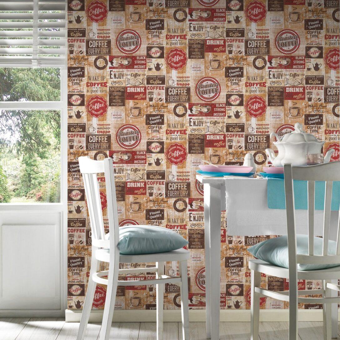 Large Size of Tapete Kaffee Kche Rotbraun 33480 1 Fototapete Fenster Ikea Küche Kosten Was Kostet Eine Schubladeneinsatz Betonoptik Wasserhähne Billige Fliesenspiegel Wohnzimmer Retro Tapete Küche