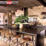 Rustikale Wandgestaltung Kche Einrichten Ideen Metallsthle Modulare Küche Singleküche Mit E Geräten Blende Unterschrank Led Deckenleuchte Hochschrank Wohnzimmer Küche Einrichten Ideen