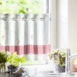 Raffrollo Küchenfenster Kchengardinen Im Landhausstil Mit Spitzenbordre Vichy Einsatz Küche Wohnzimmer Raffrollo Küchenfenster