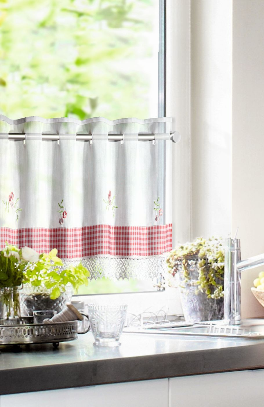 Full Size of Raffrollo Küchenfenster Kchengardinen Im Landhausstil Mit Spitzenbordre Vichy Einsatz Küche Wohnzimmer Raffrollo Küchenfenster