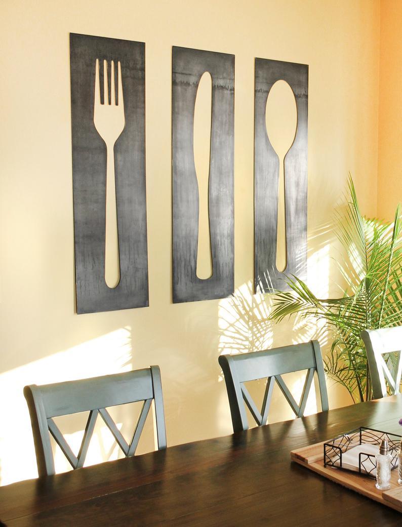 Full Size of Fork Knife Spoon Wall Art Panel Set And Decor Large Küche Jalousieschrank Teppich Tapete Modern Massivholzküche Eiche Müllschrank Vorratsschrank Büroküche Wohnzimmer Wanddeko Küche Modern