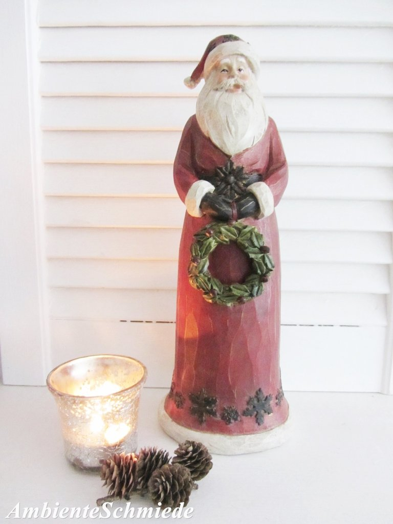 Full Size of Deko Shabby Landhaus Figur Weihnachtsmann 30cm Poly Weihnachten Badezimmer Bad Landhausstil Fenster Wohnzimmer Bett Landhausküche Grau Esstisch Sofa Wohnzimmer Deko Shabby Landhaus