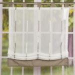 Raffrollo Küche Landhausstil Wohnzimmer Raffrollo Rollo Schlaufen Wei Transparent Mit Braunen Streifen Modulküche Spülbecken Küche Singleküche Kühlschrank Einzelschränke Doppel Mülleimer