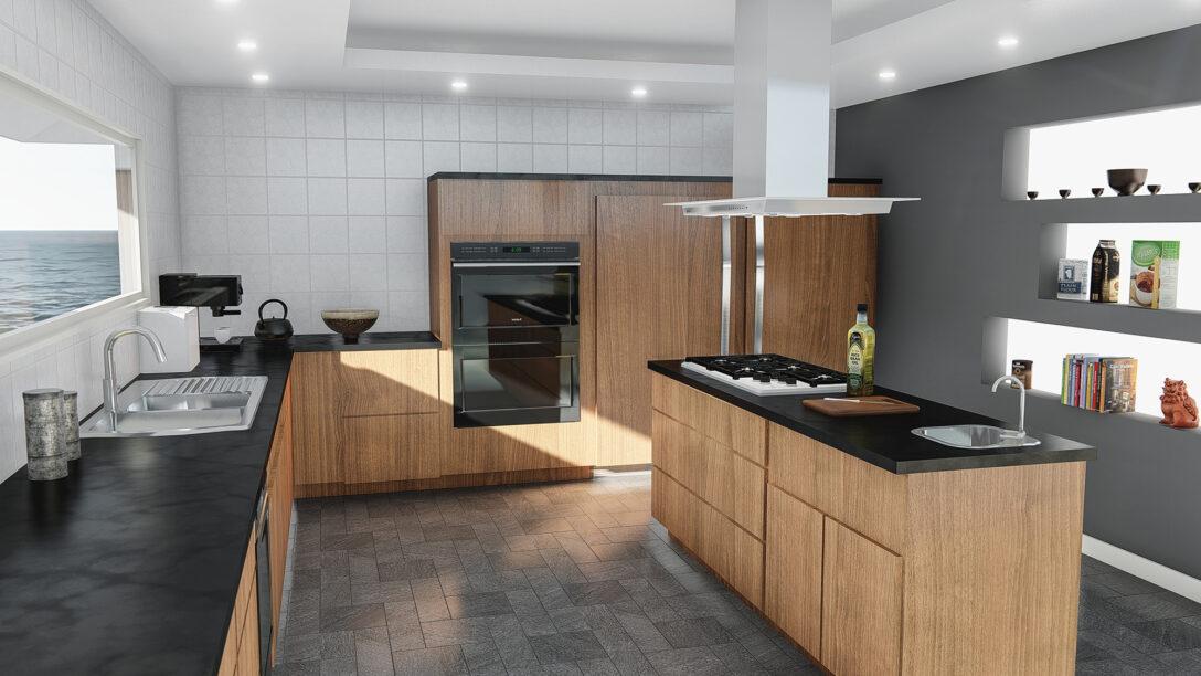 Large Size of Hängeregal Kücheninsel Moderne Kchenzeile Mit Kochinsel In Edlem Nussbaumfurnier 038 Küche Wohnzimmer Hängeregal Kücheninsel