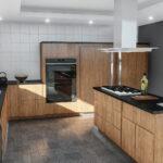 Hängeregal Kücheninsel Moderne Kchenzeile Mit Kochinsel In Edlem Nussbaumfurnier 038 Küche Wohnzimmer Hängeregal Kücheninsel