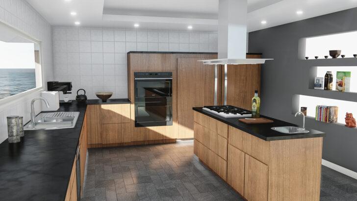 Medium Size of Hängeregal Kücheninsel Moderne Kchenzeile Mit Kochinsel In Edlem Nussbaumfurnier 038 Küche Wohnzimmer Hängeregal Kücheninsel