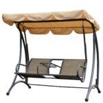 Outsunny 2 Sitzer Hollywoodschaukel Schaukel Mit Sonnendach Metall Bett Regal Weiß Regale Wohnzimmer Gartenschaukel Metall